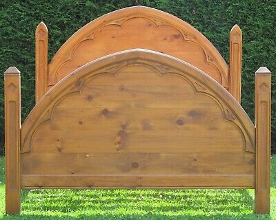 Fabulous Gothic Solid Pine King Size ( 5ft wide ) Double Bed with Pine Slat Base