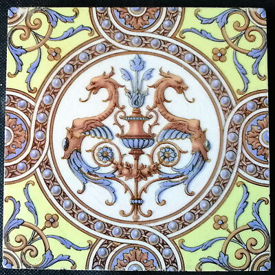 Beautiful Antique Pottery Tile Probably Minton Factory 19Th