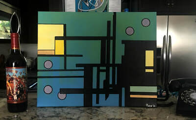 MidCentury Modern Geometric Abstract Cannery Row Orig Painting on Canvas MCM