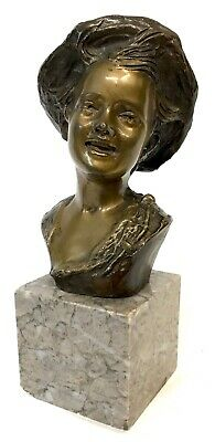 Antique Geovanni De Martino Italian Bronze Bust Of A Young Boy Wearing A Hat