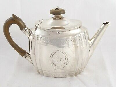 LOVELY ANTIQUE VICTORIAN SOLID STERLING SILVER TEAPOT EDWARD HUTTON 1882 289 g