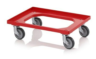 Eurobox Roller Red 600 x 400 with with Rubber Tires* *Trolley* *Kistenwagen*
