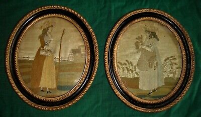 Pair of 18th century oval silk work pictures