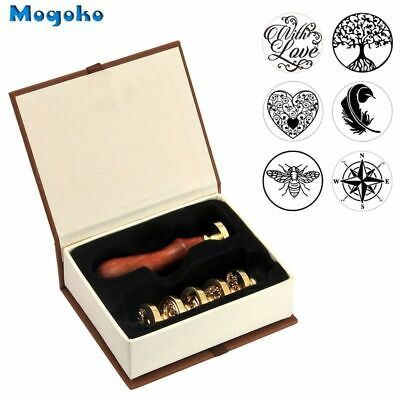 Wooden Hilt Vintage Retro Classical Initial Sealing Wax Stamps Copper Seals Kit
