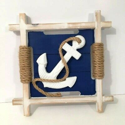 Wooden Anchor Wall Decor Nautical Decoration Blue White With
