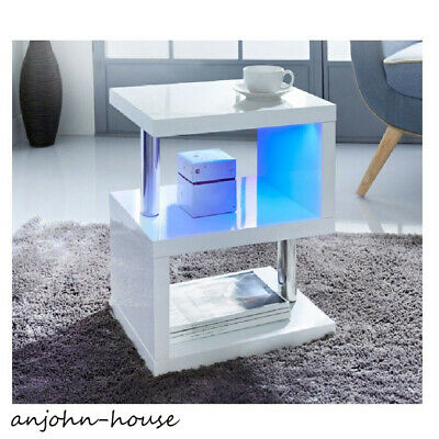 High Gloss Coffee Table Modern Design White Side Table With Blue LED Lights Unit