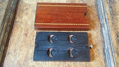 Antique Mahogany Wood & Brass Sovereign Coin Case / Holder - Campaign Desk Box