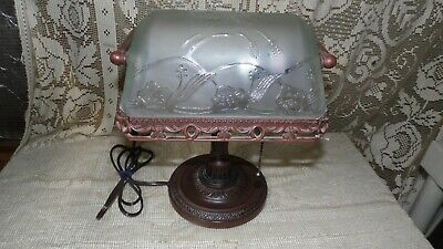 Antique Look Bankers Lamp Frosted Embossed Floral Glass Shade Table Desk Ornate