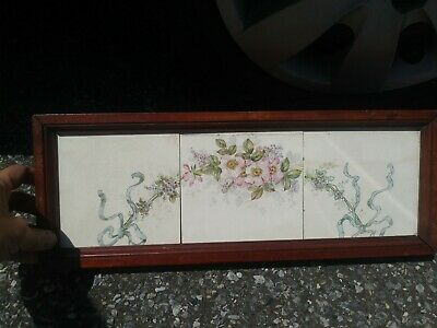"""Antqu American Encaustic Tile Co Zanesville 18"""" by 6"""" 3 pc Floral Bowknot Shabby"""