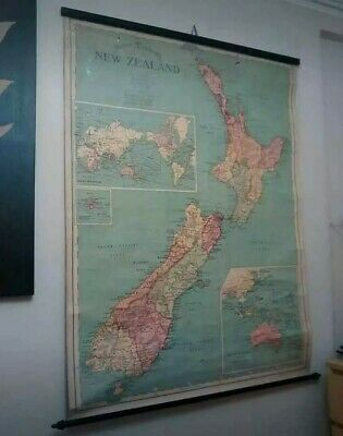 Antique New Zealand Large SCHOOL ROOM WALL MAP Early 1900s