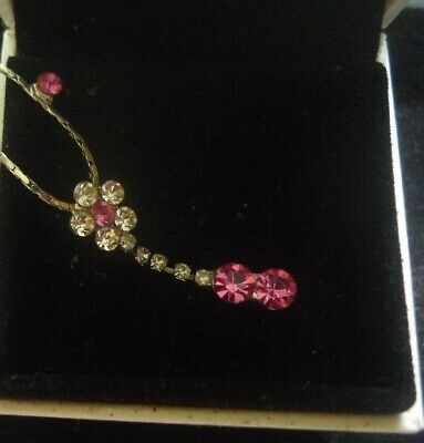 VintageEstate Necklace Pink Ruby crystal white gold Flower- 2 post Free