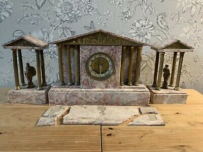 Vintage French Gilt Pillars Figures MARBLE MANTEL CLOCK GARNITURE 3 Pieces Spare