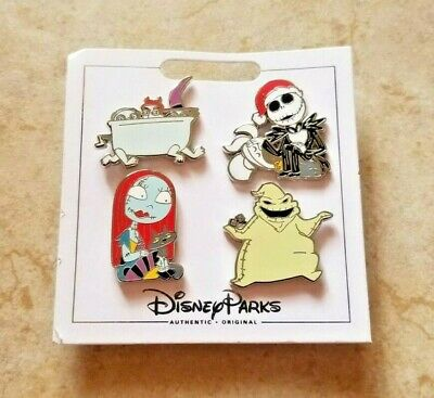 Disney Parks 4 Pin Set on Card Jack Sally * NBC NIGHTMARE BEFORE CHRISTMAS