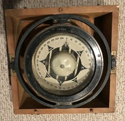 "Rare! Antique U.S. Navy Ships Compass 8"" by ES Ritchie Boston"