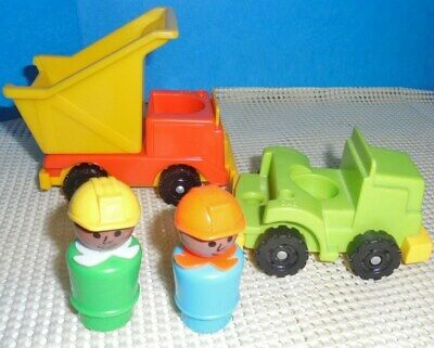 Vintage Fisher Price Lot of 2 LITTLE PEOPLE CONSTRUCTION FIGURES  with TRUCKS