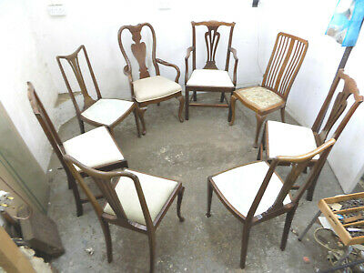harlequin,dining chairs,6 chairs,2 carvers,dining room,eight,edwardian,mahogany