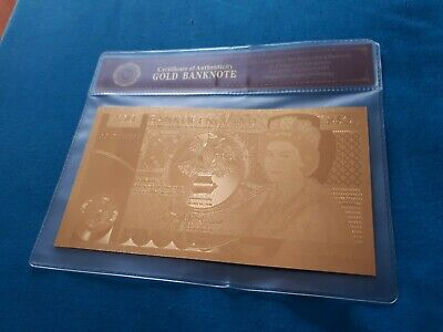VERY RARE Collectable 1981 Edition Great Britain 50 Pounds 24K Gold Foiled note