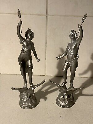 *Rare Pair Of French Antique Cast Gilt Garniture Figural Ornaments