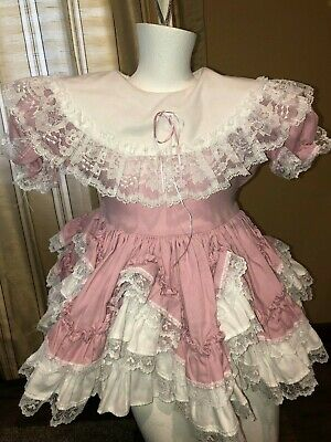 c71b304263ce1 LID'L DOLLY SOUTHERN Belle Dress rose Ruffle Pageant 3T white lace ...