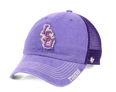 de9d3eef10e33f VINTAGE LSU TIGERS Hat Fitted Dead Stock 90s NWT Purple black Script ...