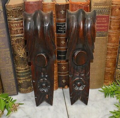 Antique Pair German Black Forest Carved Wood Corbels Architectural Trim Brackets