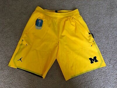 4eb0a313abd Jordan University of Michigan Football Maize 23 Tech Dry Knit Shorts Mens L