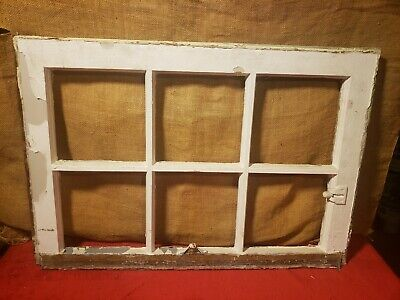 Vintage Old Antique Shabby Chic 6 Pane Wooden Window Frame No Glass Rustic Decor