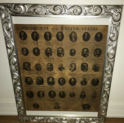 PRESIDENTS OF THE US Dated:1969 Parchment Paper Large Silver Medal Frame