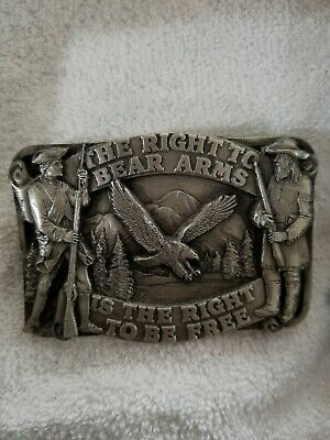 "Vintage Siskiyou Pewter Belt Buckle ""The Right To Bear Arms"" 1990 Usa Flag"
