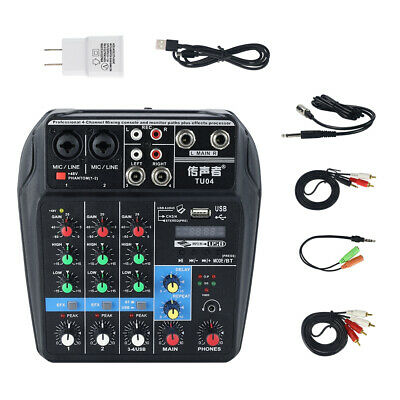 4 Channel Audio Mixer USB Board Console Bluetooth 48V Phantom Power with Effects