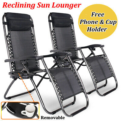 New Reclining Sun Lounger Zero Gravity Textoline Outdoor Folding Chair Side Tray