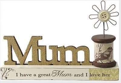 French Country Vintage Inspired Great Mum Wooden Sign Table Top Plaque New