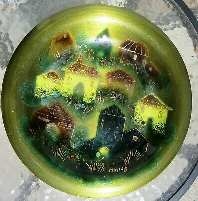 Gorgeous Mid Century Modern Mcm Enamel On Copper Sascha B Charger Bowl Cityscape