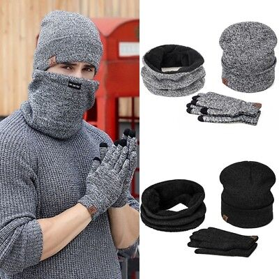 Mens Womens Beanie Hat + Gloves + Scarf Neck Knit Thermal Ski Caps Set Winter