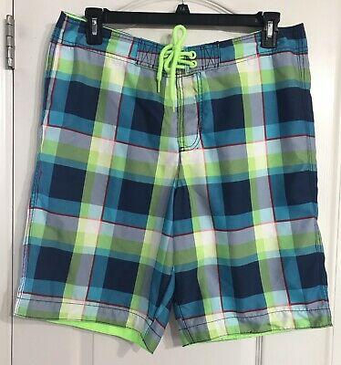 e49c5c7e5b HOLLISTER PLAID SHORTS swim trunks mens Size Medium M Blue Pink ...