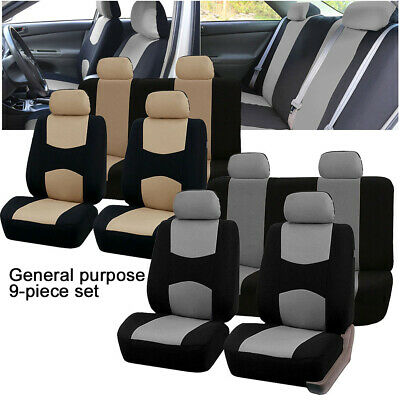 9 Part Universal Car Seat Covers Front Rear Head Rests Full Set Auto Seat Cover