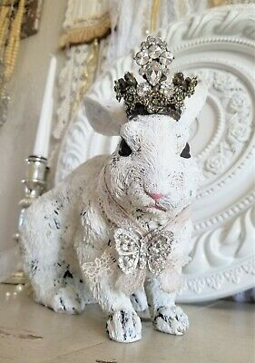 rabbit statue with crown vtg rhinestone lot embellishement figure Farmhouse OMG!