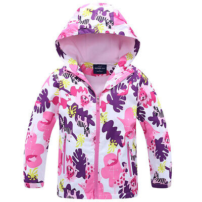 Waterproof Raincoat Girls/Boys Kids Hooded Fleece School Lined Jacket Age 2-12yr