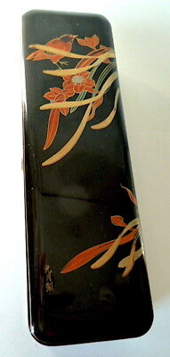 Antique Lacquer Box Japan Asian Birds Japan China Signed