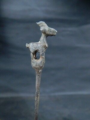 Ancient Bronze Cosmatic Pin With Animal Roman 200 BC #BR2136