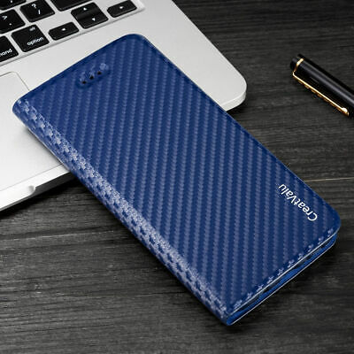 Magnetic Carbon Leather Flip Wallet Card Phone Case Cover For Samsung S8 S8 Plus