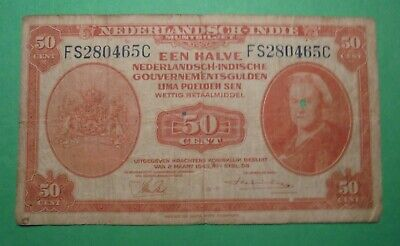 Ww2 1943 Netherlands Banknote.(Has Small Hole In Face)