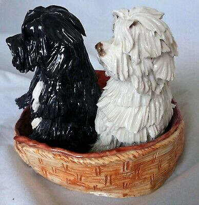 Tibetan Terriers In Basket - Eve Pearce Hand Crafted Porcelain Dog/Dogs