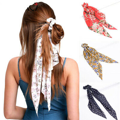Women's Elegant Hair Scarf Hairband Dot Floral Bow Hair Tie Rope Accessories