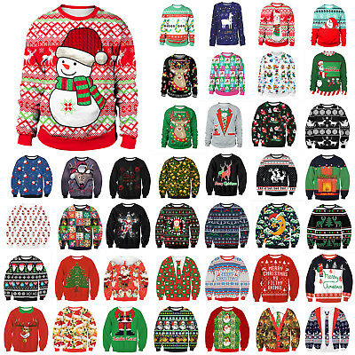 Women Men Ugly Sweater Xmas Jumper Kinitwear Sweatshirt Pullover Tops T-shirt