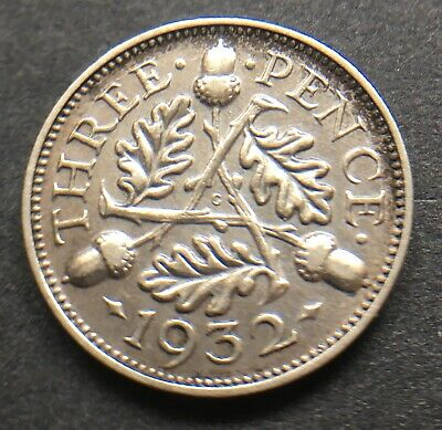 King George V 1932 Threepence Coin .500 Silver Great Britain Uk   Lot Ref 471