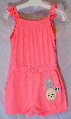 Baby Girls Primark Neon Pink Spotty Pineapple Shorts Playsuit Age 18-24 Months