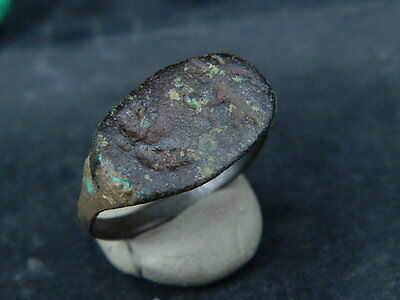 Ancient Bronze Seal Ring Bactrian 300 BC #BR709