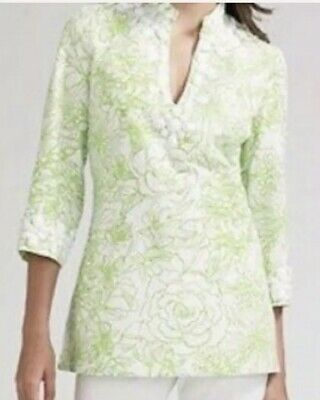 15fde89e500e42 LILLY PULITZER NEWBURY Tunic Top Beaded Green & White Size 6 ...