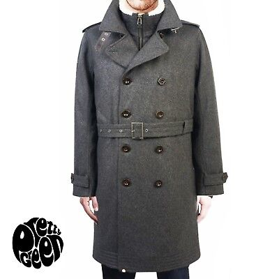 a4e6902b0e96 PRETTY GREEN Wool Astley Trench Coat in Grey with Vegan Shearling Lining.  Medium